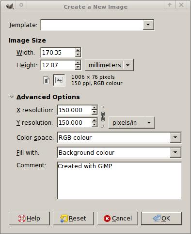 GIMP Setting used to create the correct size header logo for GNUCash