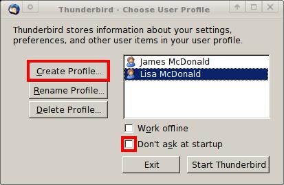 Thunderbird profile manager dialog