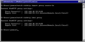 Windows CMD Dialog showing netsh winhttp import proxy command